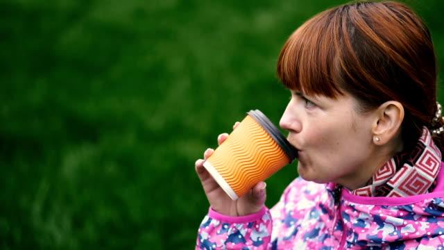 Coffee. Girl drinking coffee