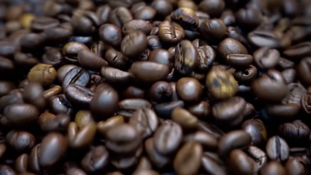 Coffee grains fall on other coffee beans video