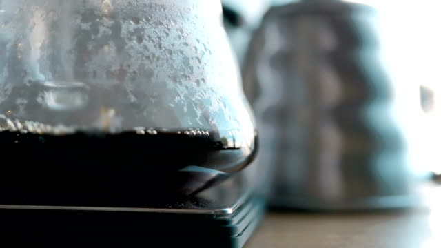 Coffee Maker Brewing Coffee. Coffee Flows Into The Pot - video