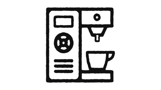 Coffee Maker Icon Animation Footage & Alpha Channel
