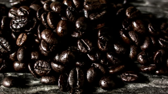 Coffee on grunge wooden background video