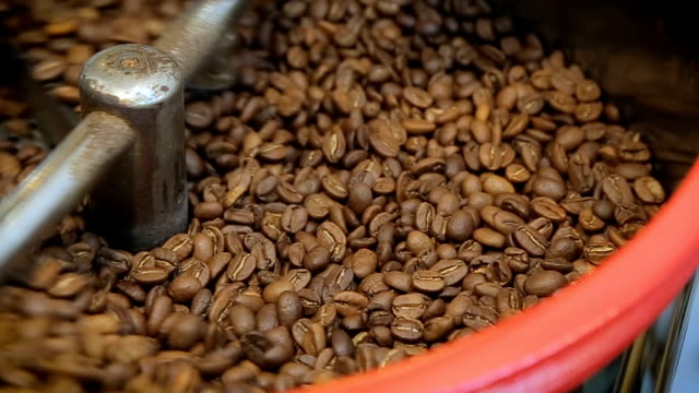 Coffee Roaster Cooling Down Freshly Roasted Coffee Beans Close-up video