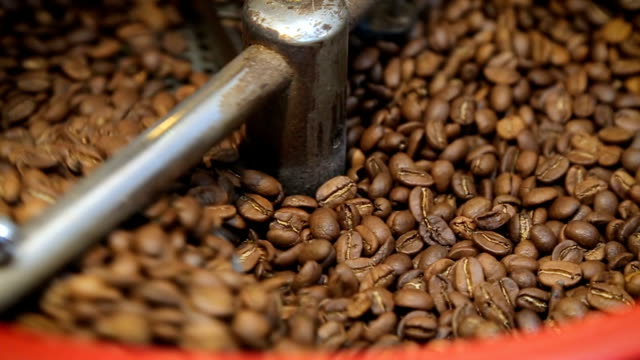 Coffee roaster cooling off fresh roasted coffee beans Cooling coffee beans after roasting in machine video