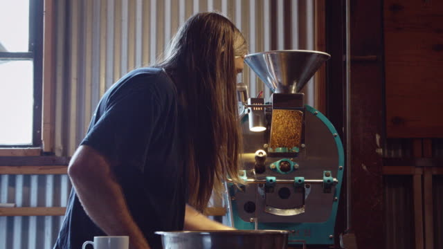 Coffee Roaster Looking Through Fresh Beans video