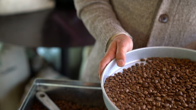 CU coffee roaster sorting through beans video