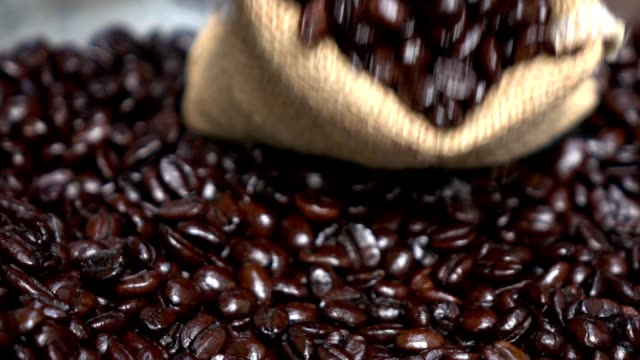 Coffee seed in bag pouring video