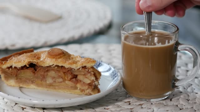 Coffee time with apple dessert. video