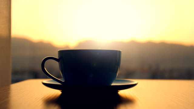 Coffee time,Coffee cup on table