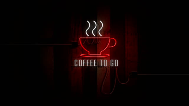 coffee to go sign neon lights on wooden wall vintage