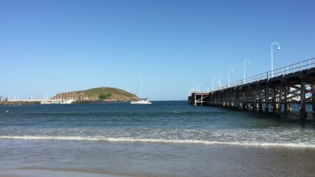 coffs harbour jetty yeni güney galler avustralya - dalgakıran stok videoları ve detay görüntü çekimi