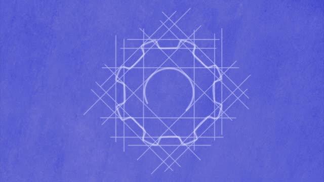Cog wheels drawn on blueprint video