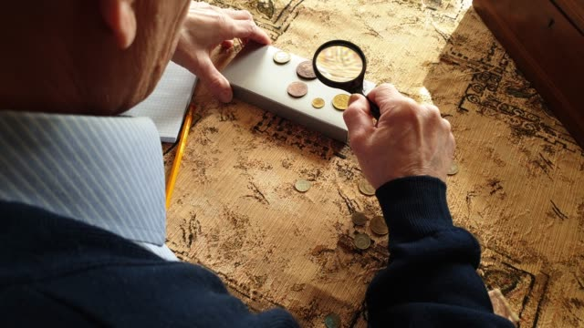 Coin Evaluator. The collector of coins. The man considers ancient coins.
