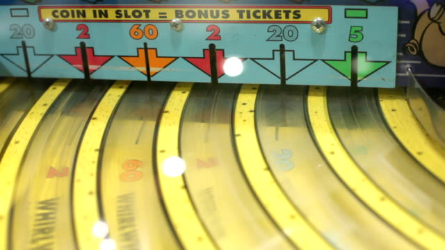 Coin in Slot Bonus Ticket Game Close up of a kids game where you win tickets and cash them in for prizes. incentive stock videos & royalty-free footage