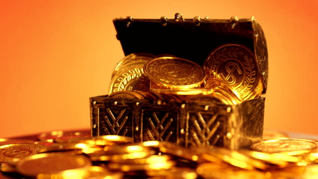 Coin in treasure chest