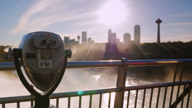 A coin operated binocular viewer located in Niagara Falls with a view to the falls out of focus in the background video