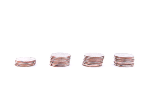 Coin Towers Rise then Fall-Loopable, Isolated on White