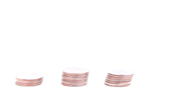 Coin Towers Rise then Fall-Loopable, Isolated on White video