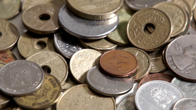 Coins (2) Display of coins several countries us coin stock videos & royalty-free footage