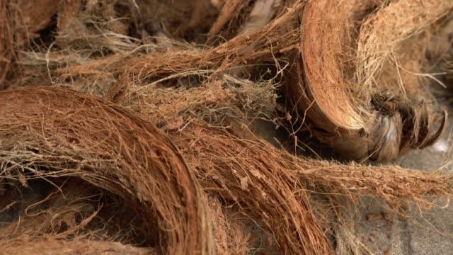 coir eller kokos fibrer. - kokosfiber bildbanksvideor och videomaterial från bakom kulisserna