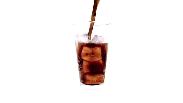 Coke Poured Into Rotating Glass Delicious coke drink poured over ice cubes and fizzing soda stock videos & royalty-free footage