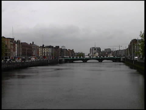 Cold Dark Spring Day, Autumn On Dublin's River (Wide) (Ireland) video