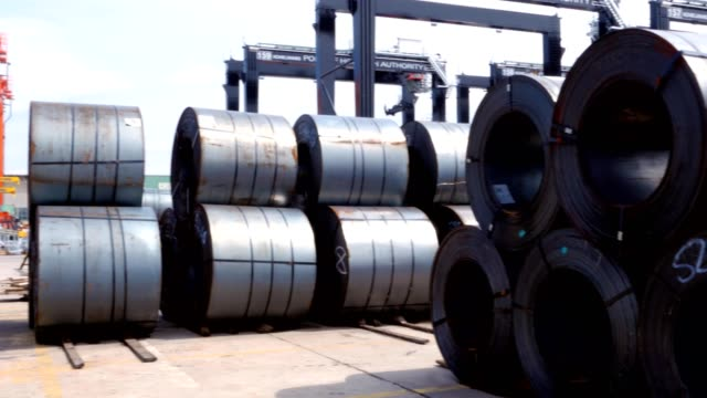 cold rolled steel sheet coils in bull in the port of gdynia - rotolo video stock e b–roll