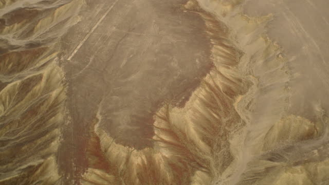 Colibri Geoglyph in Nazca Desert Aerial View video