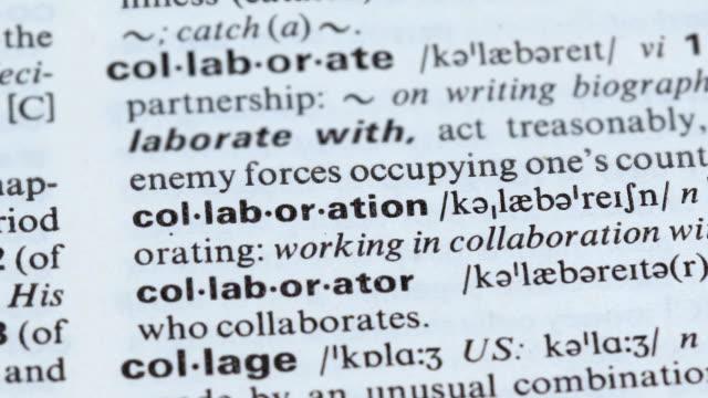 samarbete ord definition pekade på ordbok, ömsesidigt projekt, samarbete - stavning bildbanksvideor och videomaterial från bakom kulisserna