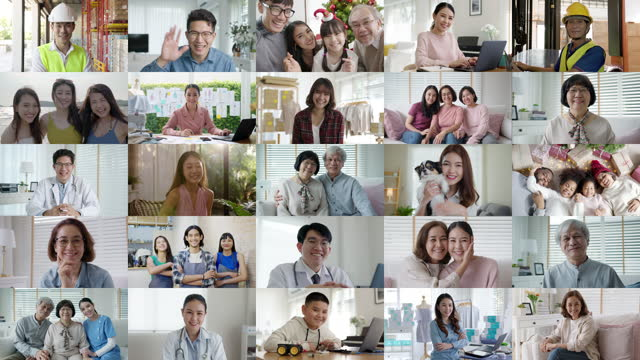 Collage asian people happy online network 5G internet user satisfied. Mixed age range face or multi ethnic screen group of asia people power look at camera enjoy laugh talk of Doctor worker, senior SME owner, teen college student in 5G IOT job life at home office. mosaic stock videos & royalty-free footage