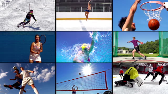 hd montage: collage von attraktive sport-action - sport stock-videos und b-roll-filmmaterial