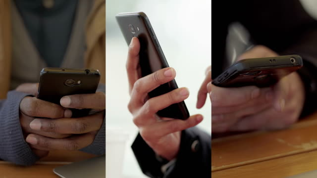 vídeos de stock e filmes b-roll de collage of close up shots of male hands texting on smartphone - mensagem sms