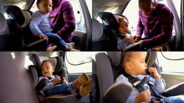 Collage of father fastening child with seat belt