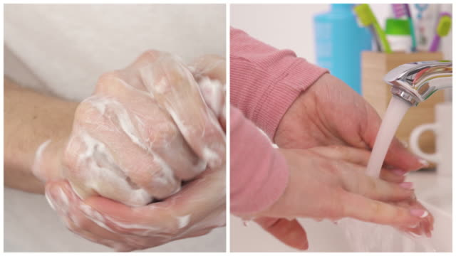 Collage of female soapy hands. Woman washing hands with water. Hygiene concept. Coronavirus preventative measures