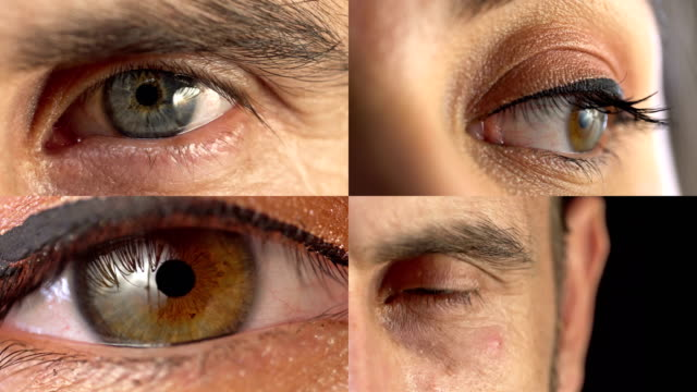 Collage of male and female eyes looking straight to camera Collage of male and female eyes looking straight to camera multiple image stock videos & royalty-free footage