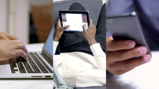 collage of male hands typing on tablet, laptop and smartphone - composizione video stock e b–roll
