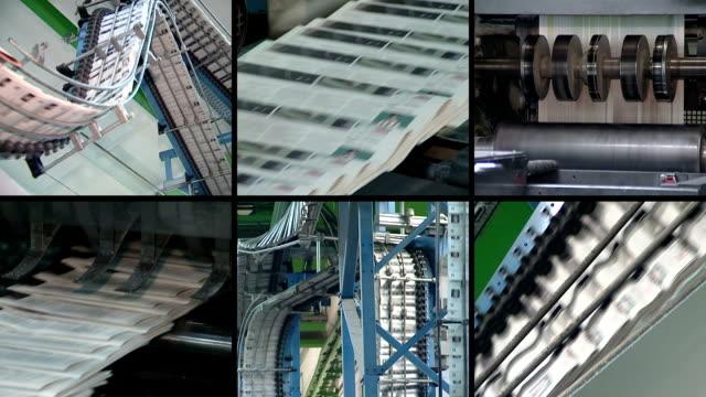 콜라주를 신문 인쇄. 발행기 인쇄 일간 신문 누르십시오 - 성찬 미사 스톡 비디오 및 b-롤 화면