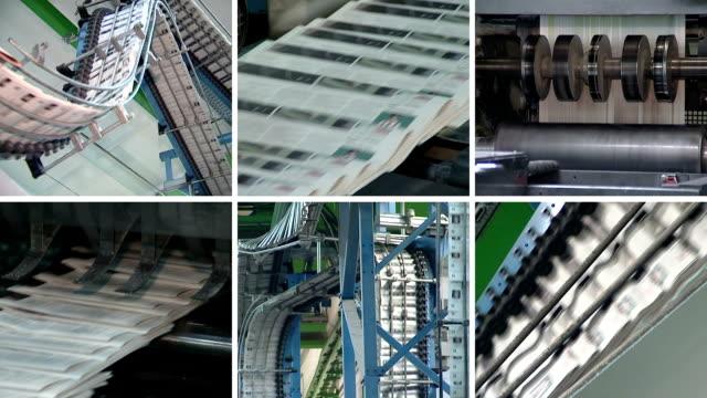 collage of newspapers printing. machine print daily paper press - paper mass bildbanksvideor och videomaterial från bakom kulisserna