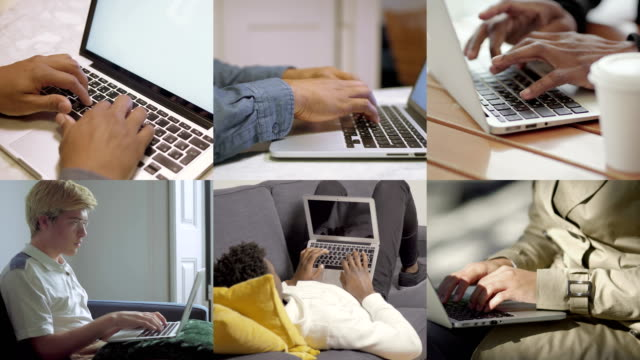 collage of people hands working, texting or typing on laptops - composizione video stock e b–roll