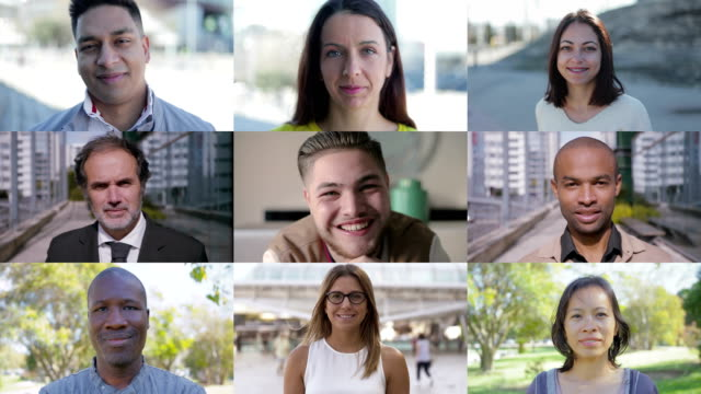 collage of people of different races looking at camera - composizione video stock e b–roll