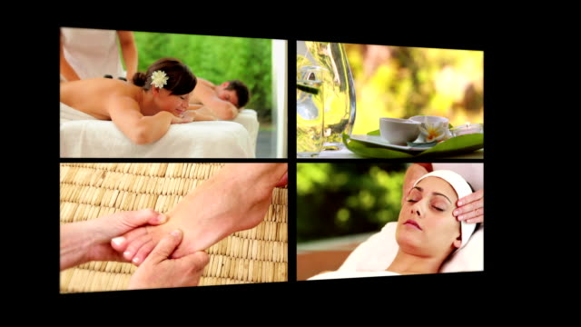 Collage of people receiving massage video