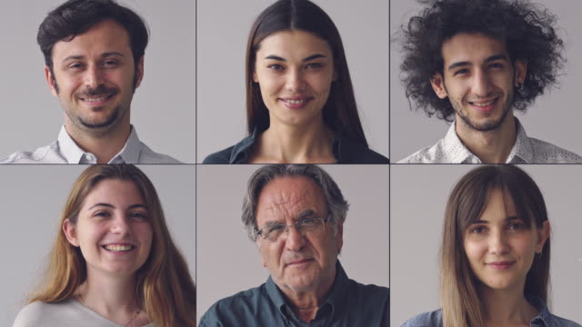 collage of portraits smiling men and women - composizione video stock e b–roll