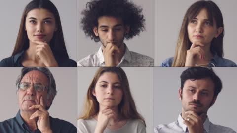 collage von porträts, die denken, männer und frauen - betrachtung stock-videos und b-roll-filmmaterial