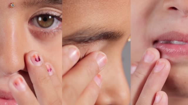 collage of young girl touching her nose, eyes and mouth - concept showing avoid touching face to protect and prevent form covid-19, sars cov 2 or coronavirus outbreak or spreading - трогать стоковые видео и кадры b-roll