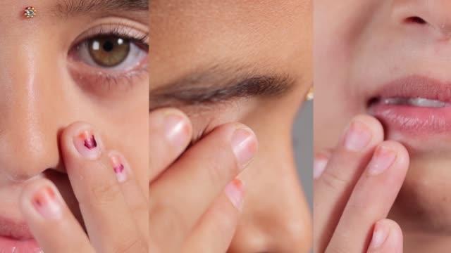 genç kızın burnuna, gözlerine ve ağzına dokunmasının kolajı - covid-19, sars cov 2 veya coronavirus salgınını veya yayılmasını önlemek için yüze dokunmaktan kaçınmayı gösteren kavram - burun vücut parçaları stok videoları ve detay görüntü çekimi