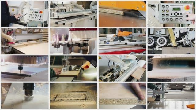 collage på temat möbel tillverkning - cnc maskin bildbanksvideor och videomaterial från bakom kulisserna