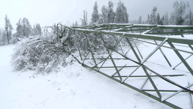 Collapsed Electricity Pylon From The Ice Storm video