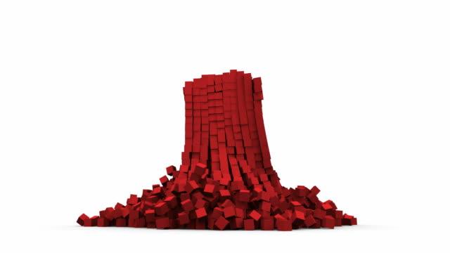 crollare blocco rosso - fragilità video stock e b–roll