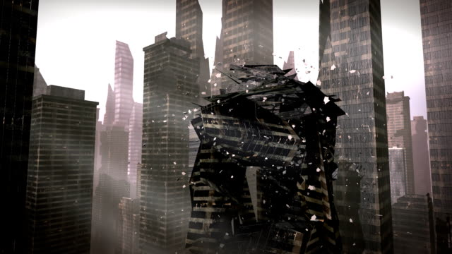 Collapsing building in a urban city video