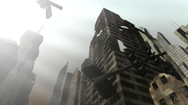 Collapsing building in an animated city video