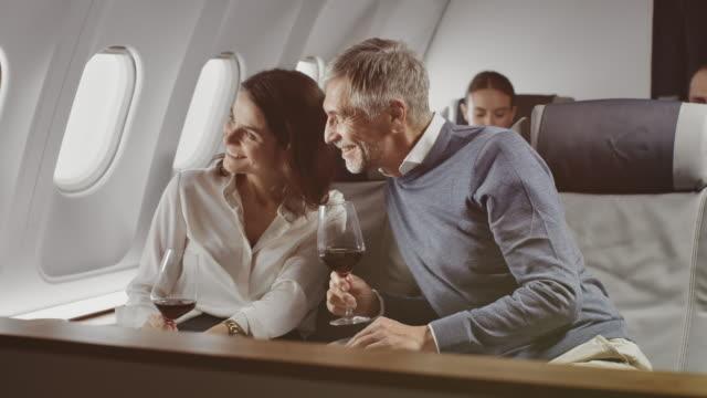 企業ジェット機で赤ワインを楽しむ同僚 - 乗客点の映像素材/bロール